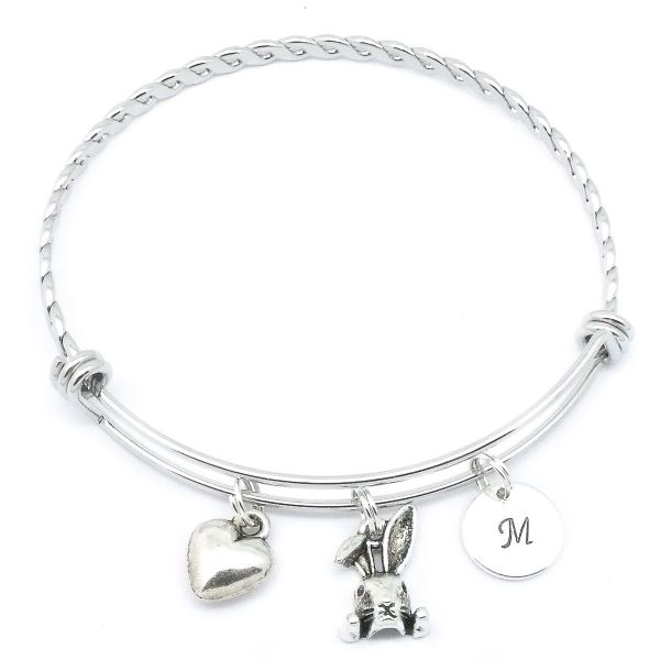 Cute Rabbit Head Charm Bracelet Personalised Gift